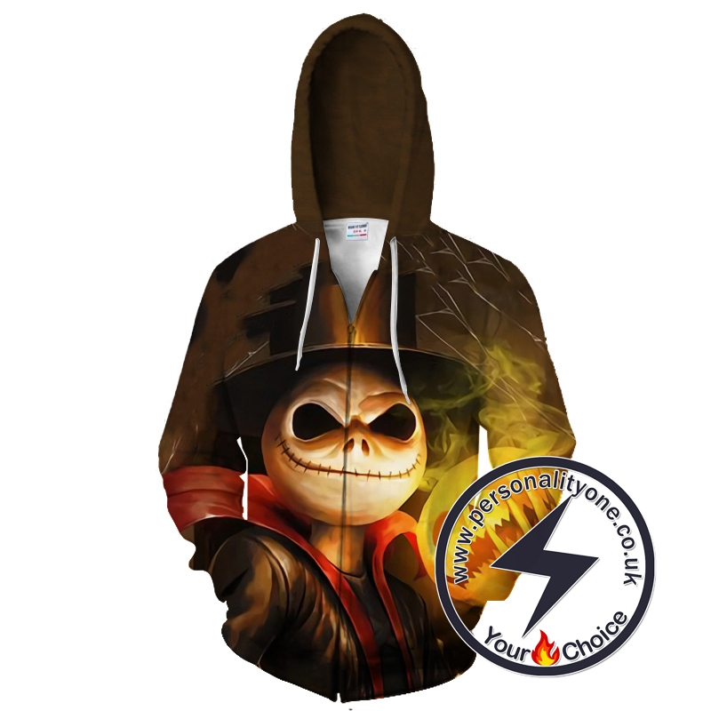 Halloween Town Jack Skellington And The Pumpkin King Zip Up Hoodie