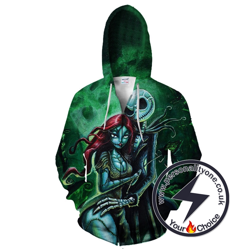 Jack And Sally The Nightmare Before Christmas Zip Up Hoodie