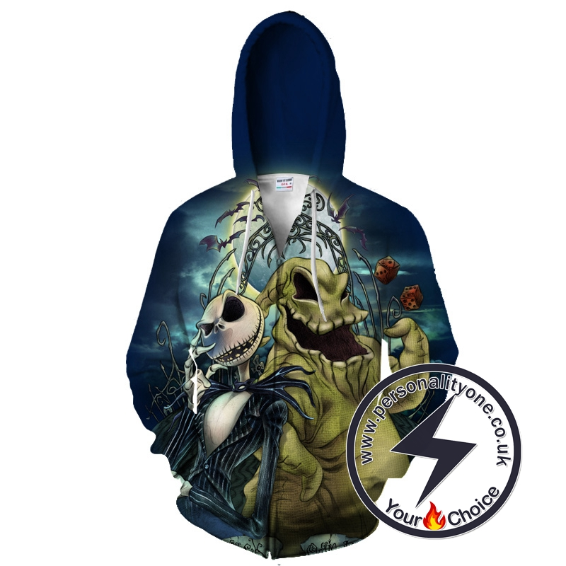 Jack Skellington And Oogie Boogie The Nightmare Before Christmas Zip Up Hoodie
