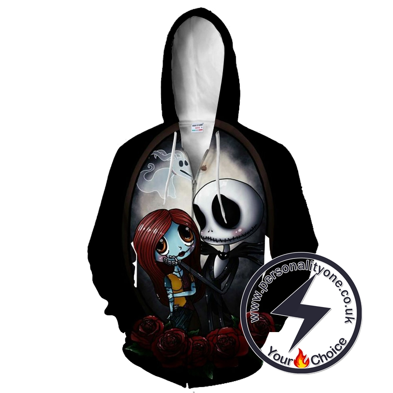 Jack Skellington And Sally Romantic The Nightmare Before Christmas Zip Up Hoodie