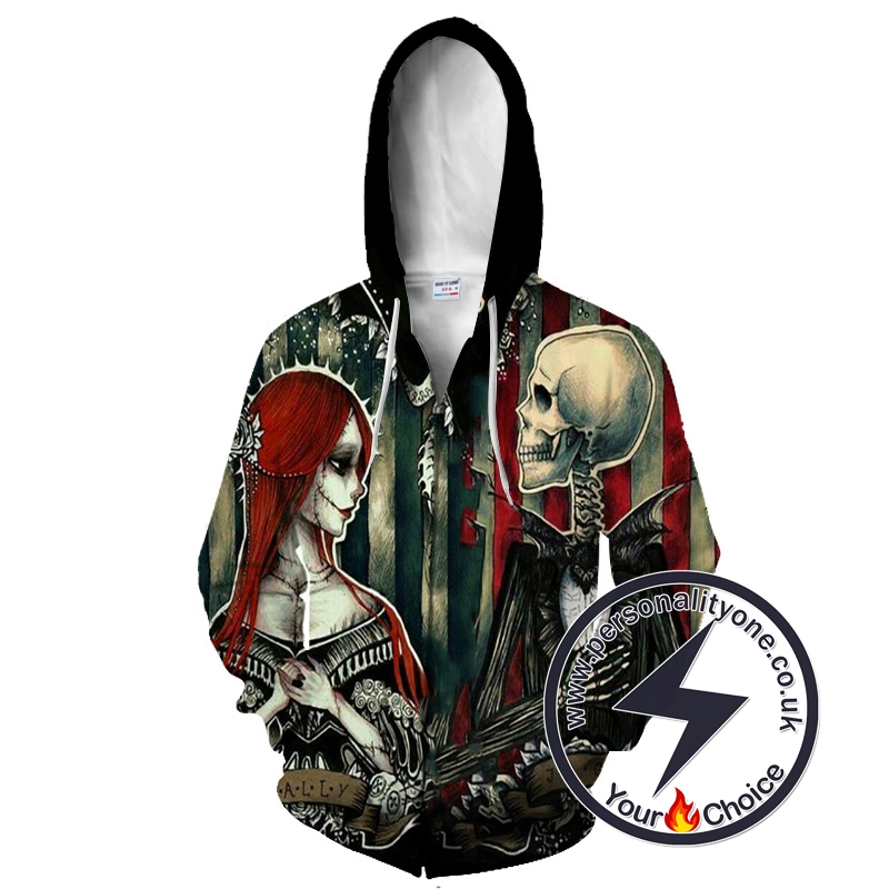 Jack Skellington And Sally Wedding The Nightmare Before Christmas Zip Up Hoodie