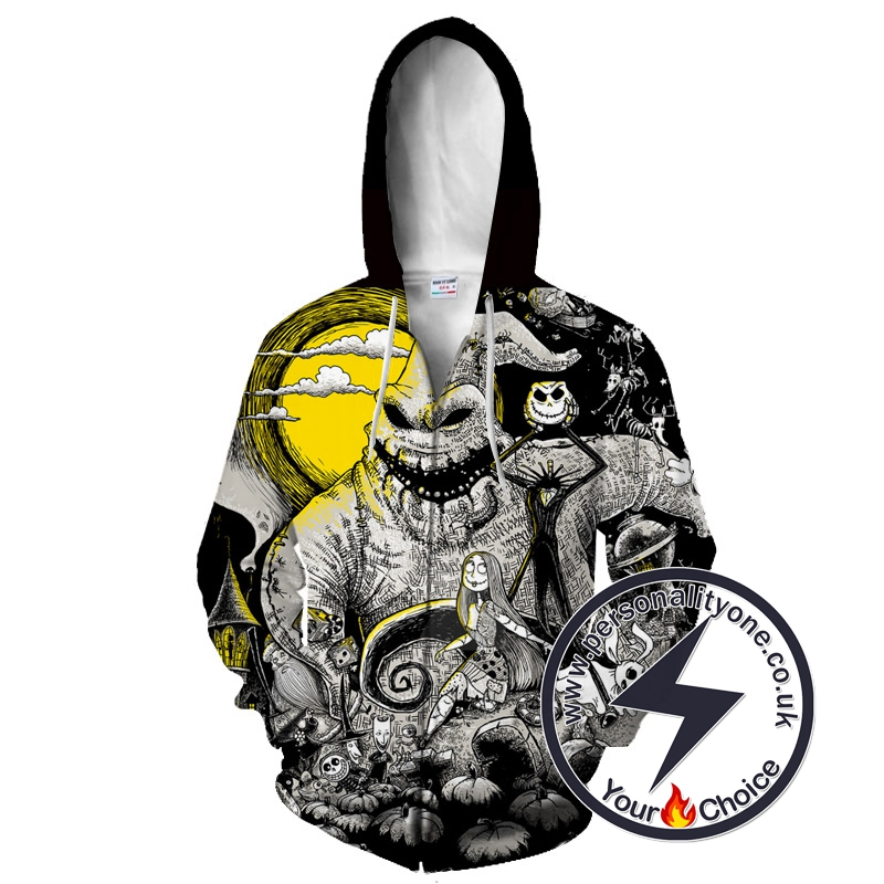 Oogie Boogie Jack Skellington And Sally The Nightmare Before Christmas Zip Up Hoodie
