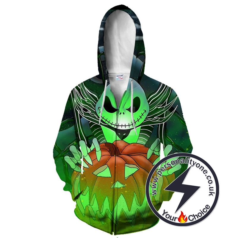 The Nightmare Before Christmas Evil Looking Jack Skellington Zip Up Hoodie