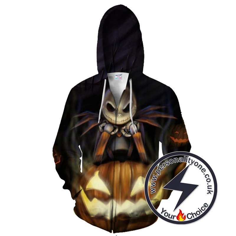 The Nightmare Before Christmas Halloween Spooky Jack Skellington Zip Up Hoodie