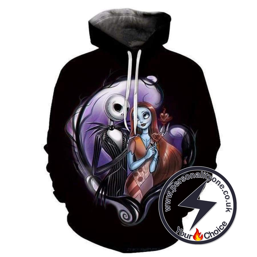 The Nightmare Before Christmas Jack And Sally Hoodie Black