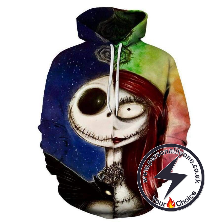 The Nightmare Before Christmas Jack And Sally Oil Paint Hoodie