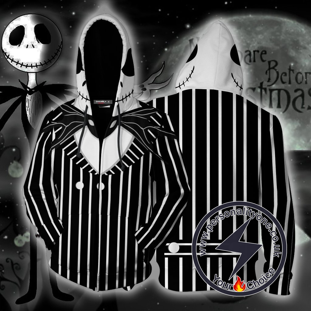 The Nightmare Before Christmas Jack Skellington Cosplay Zip Up Hoodie Jacket