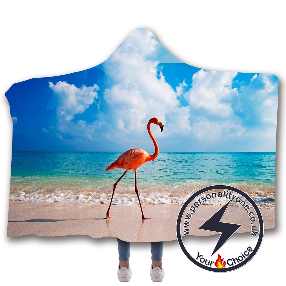 3D Flamingo Hooded Blanket #10002