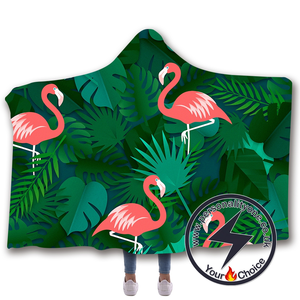 3D Flamingo Hooded Blanket #10004