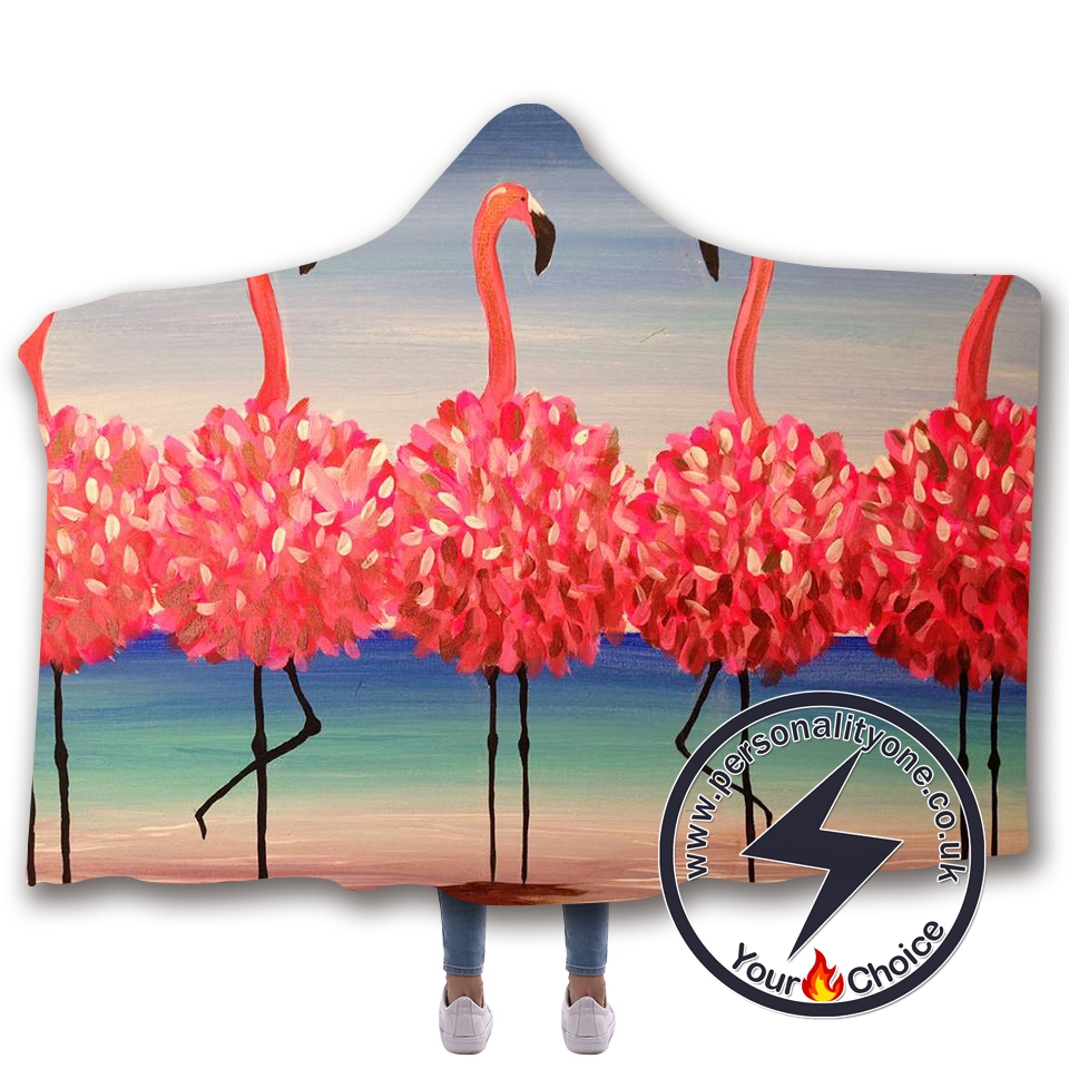 3D Flamingo Hooded Blanket #10007