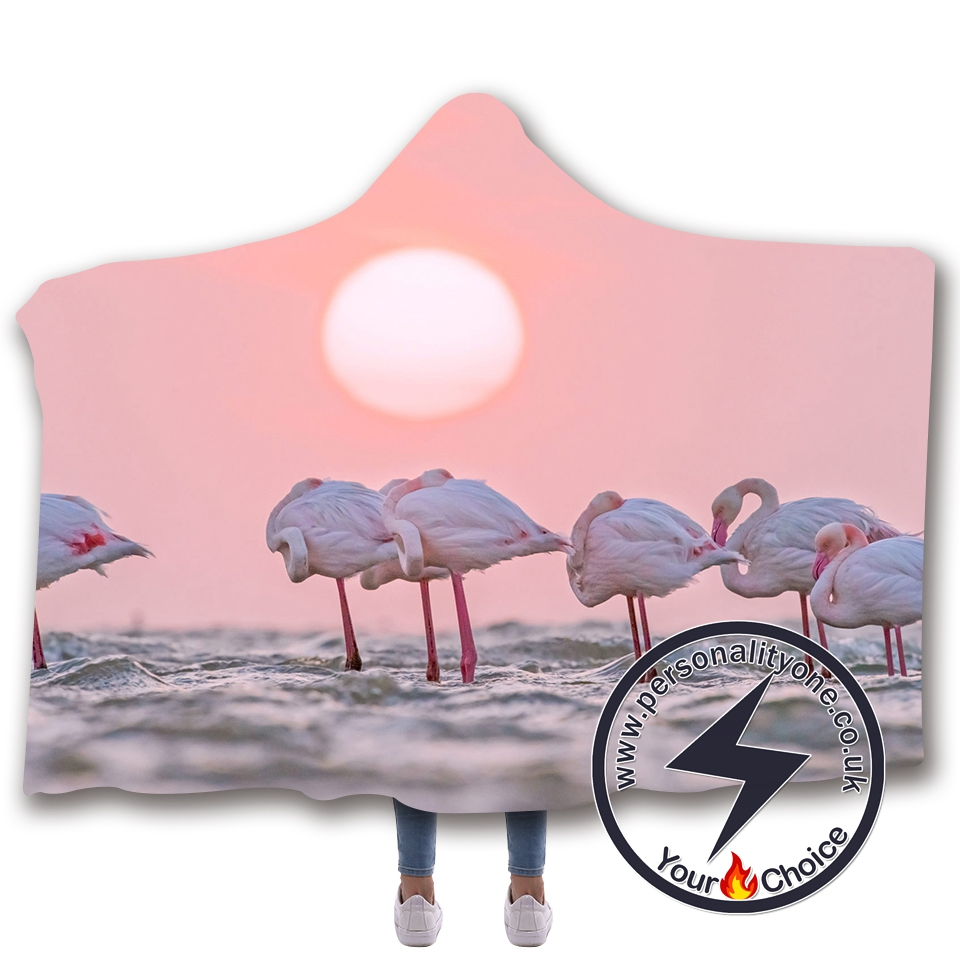 3D Flamingo Hooded Blanket #10009