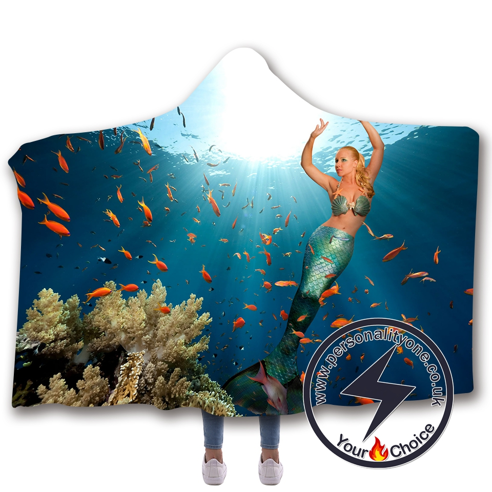 3D Mermaid Hooded Blanket #10020