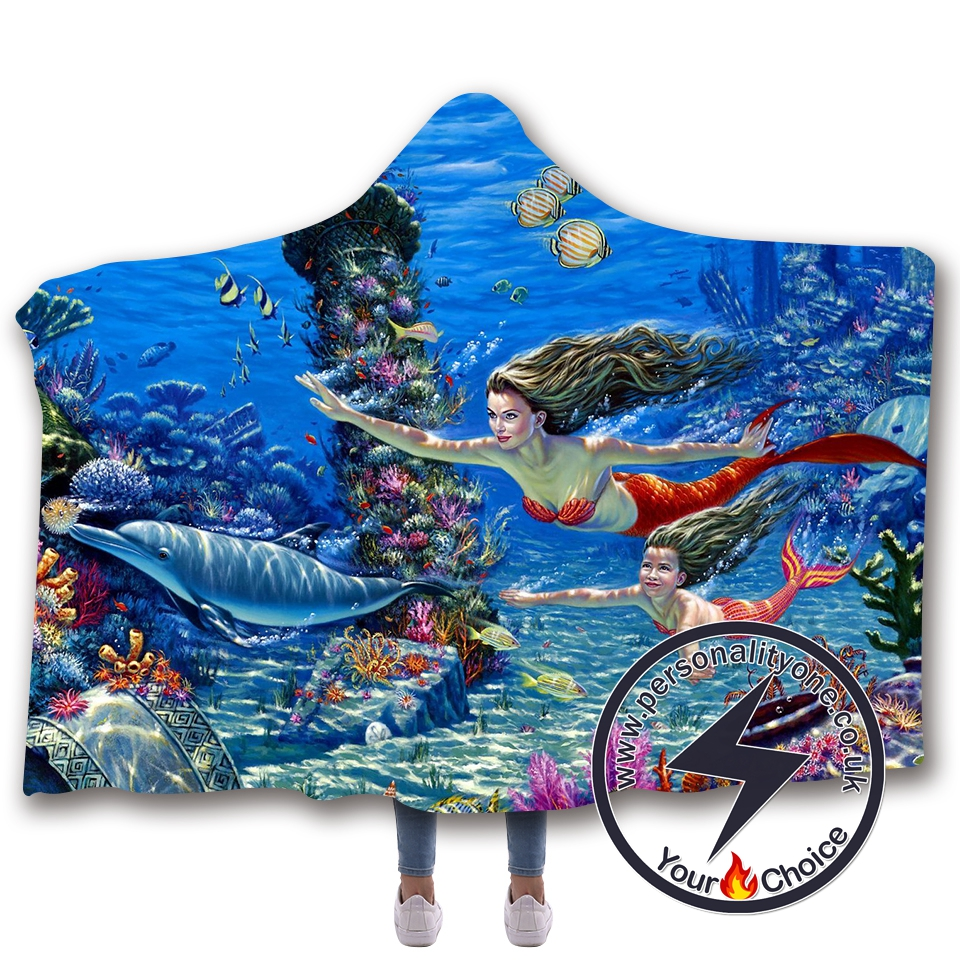 3D Mermaid Hooded Blanket #10023