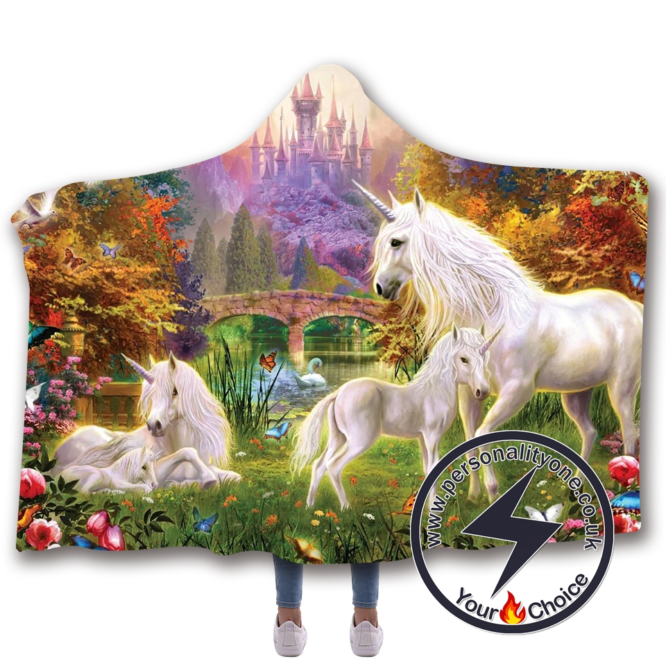 3D Unicorn Hooded Blanket #10005