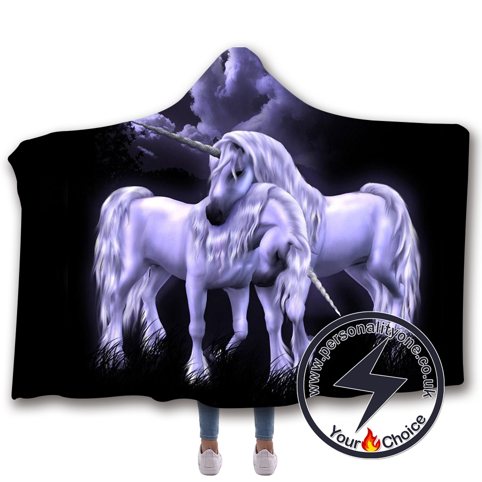 3D Unicorn Hooded Blanket #10006