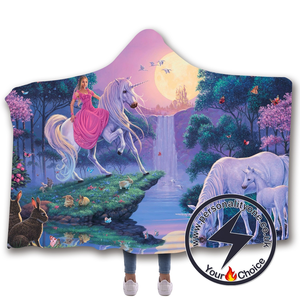 3D Unicorn Hooded Blanket #10007