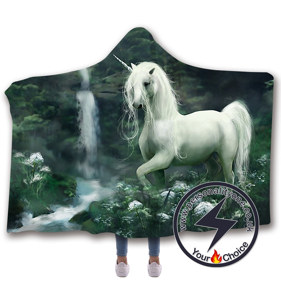 3D Unicorn Hooded Blanket #10009