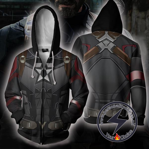Avengers Infinity War Hoodies - Captain America Costume Zip Hoodie Jacket