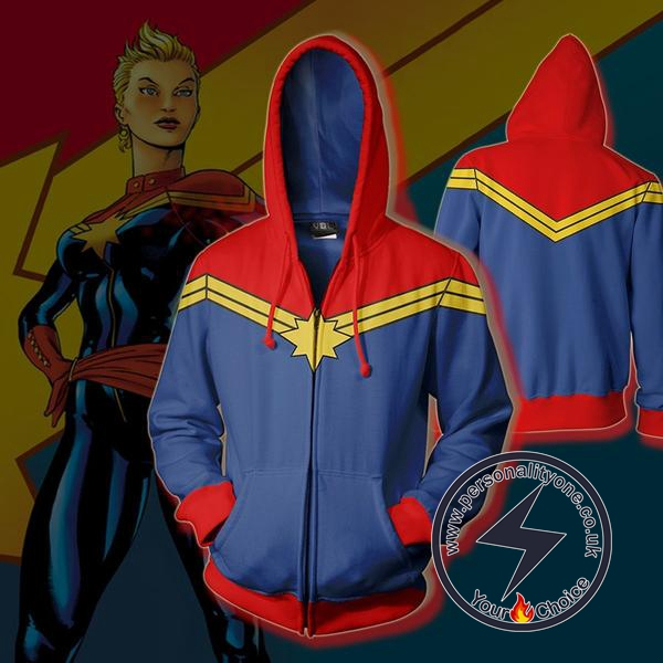 Captain Marvel Hoodie-Captain Marvel Zip Up Hoodie #19003