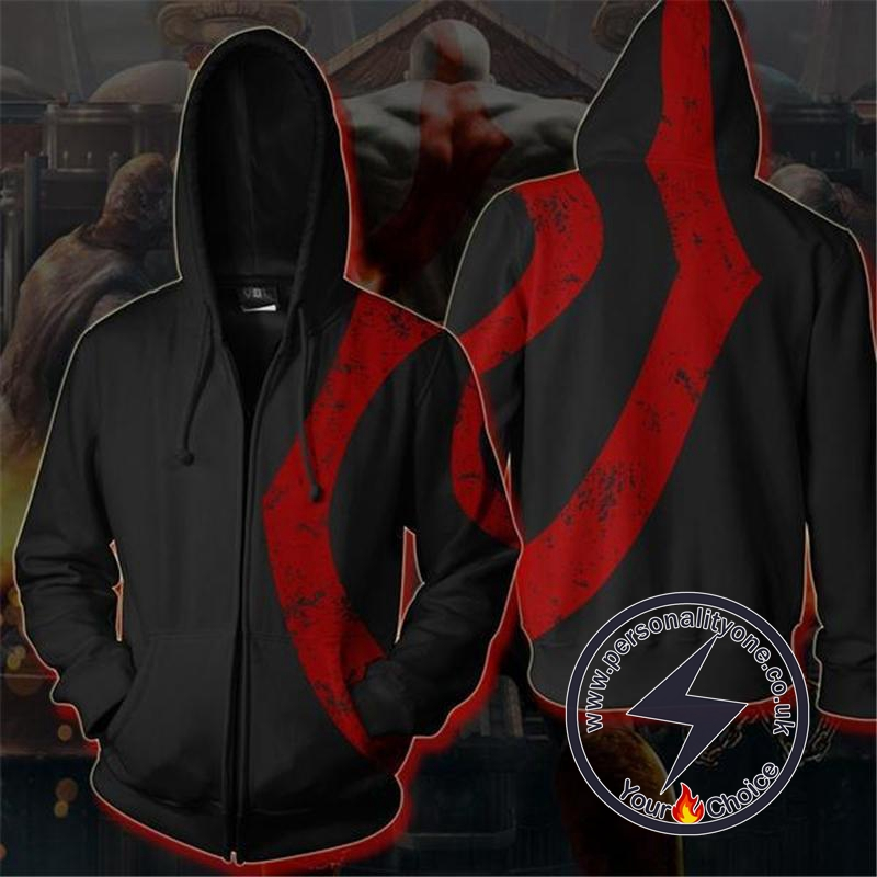 God of War Kratos Zip Up Hoodie BLACK Jacket