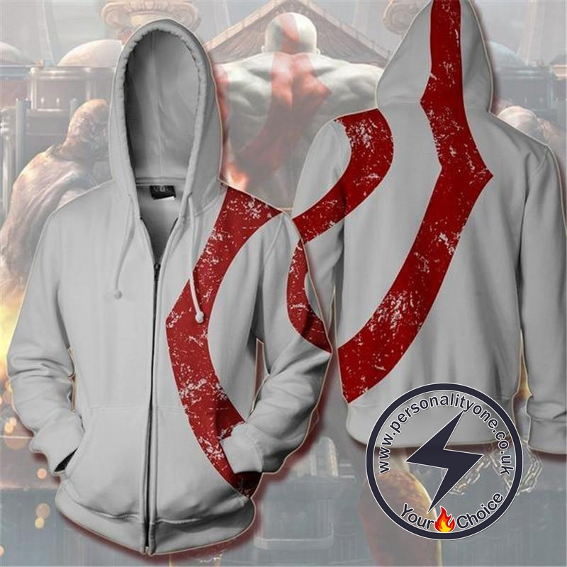 God of War Kratos Zip Up Hoodie WHITE Jacket