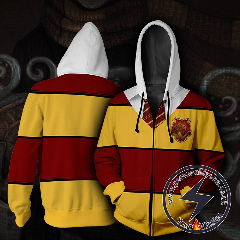 Harry Potter Gryffindor Yellow And Red Stripes Cosplay Zip Up Hoodie Jacket
