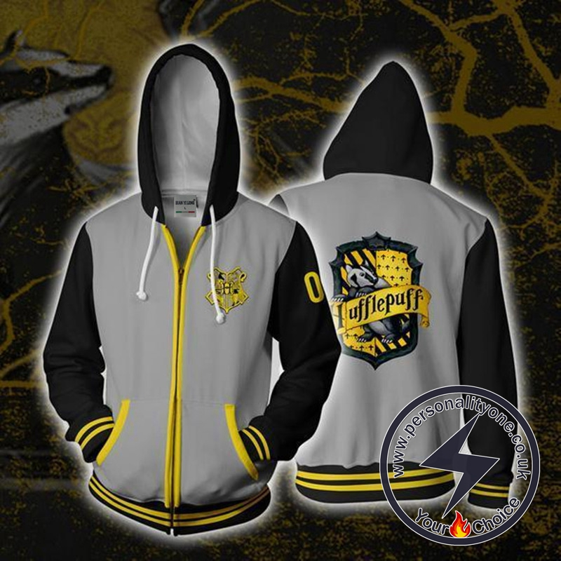 Harry Potter Hufflepuff LOGO Cosplay Zip Up Hoodie Jacket
