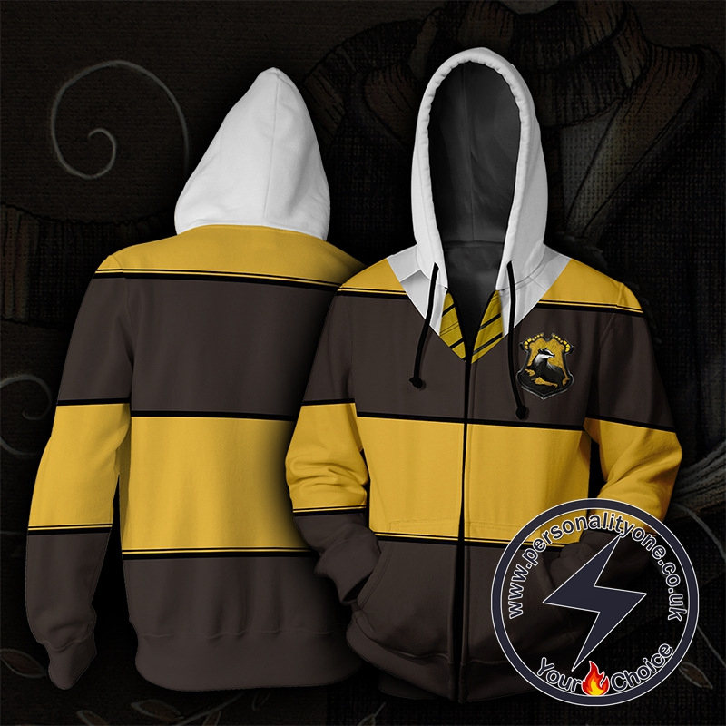 Harry Potter Hufflepuff Yellow And Brown Stripes Cosplay Zip Up Hoodie Jacket