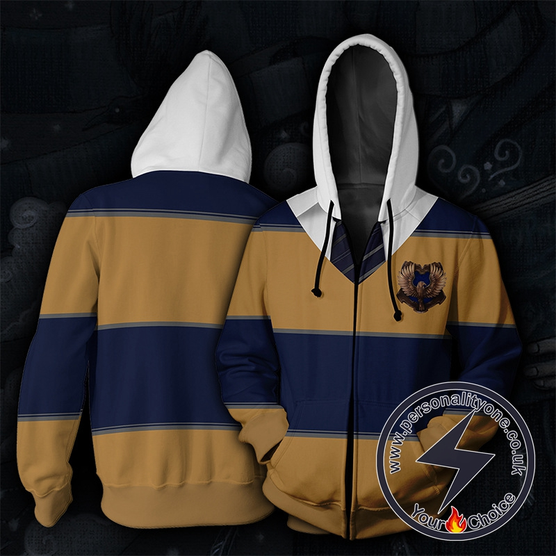 Harry Potter Ravenclaw Blue And Brown Stripes Cosplay Zip Up Hoodie Jacket