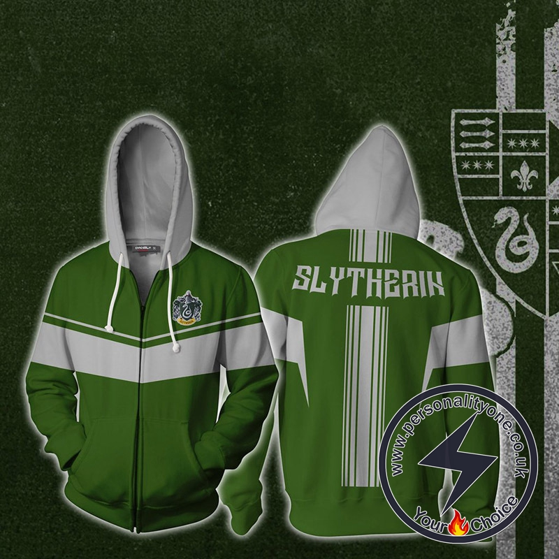 Harry Potter Slytherin Cosplay Zip Up Hoodie Jacket