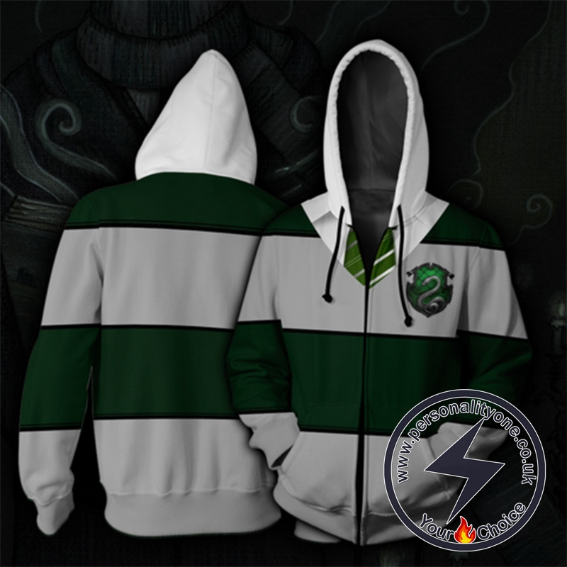 Harry Potter Slytherin Green And Gray Stripes Cosplay Zip Up Hoodie Jacket