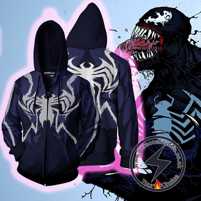 MARVEL COMICS - Venom Hero Cosplay Zip Up Hoodie Jacket