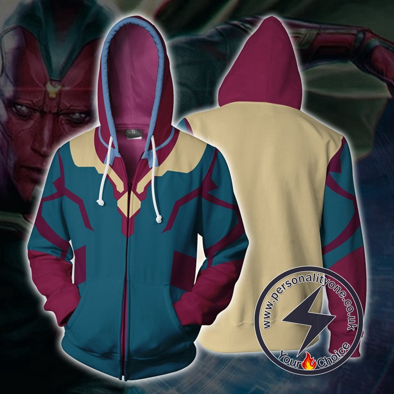 MARVEL COMICS - Vision Hero Cosplay Zip Up Hoodie Jacket