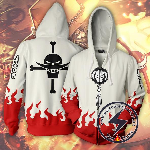 One Piece Ace White Zip Up Hoodie Jacket