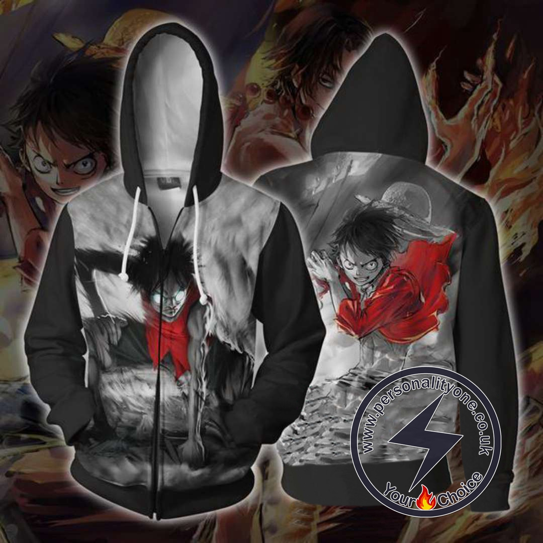 One Piece Luffy Gear 2 Mode Zip Up Hoodie Jacket