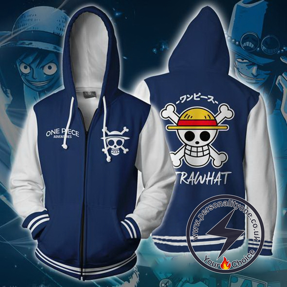 One Piece Strawhat Zip Up Hoodie Jacket