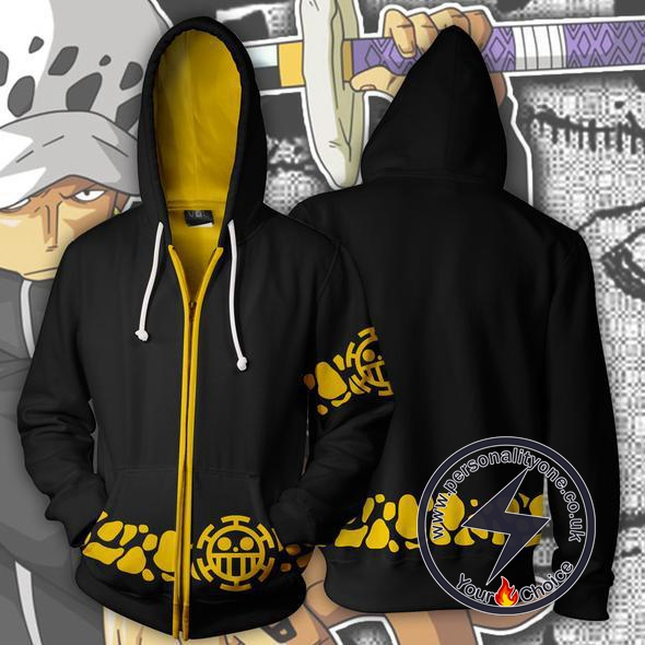 One Piece Trafalgar Law Coat Zip Up Hoodie Jacket
