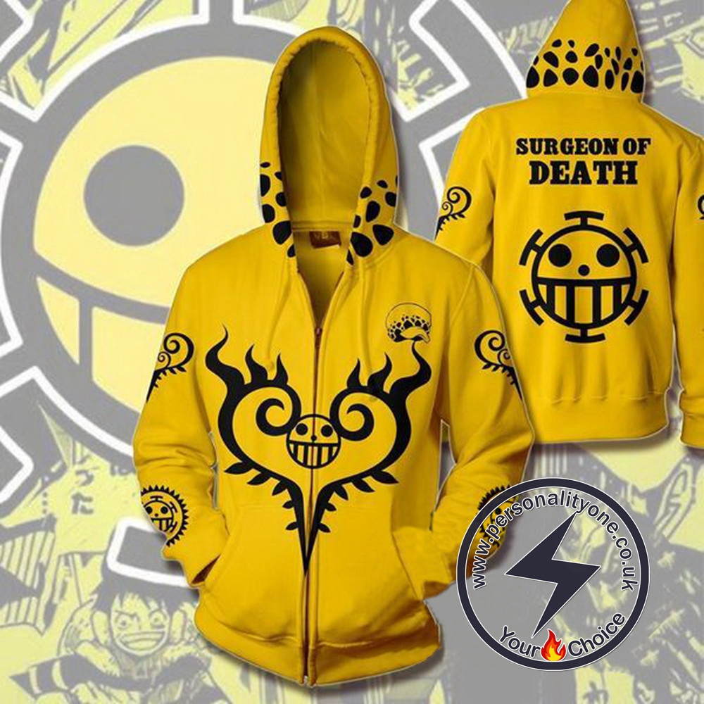 One Piece Trafalgar Law Yellow Zip Up Hoodie Jacket