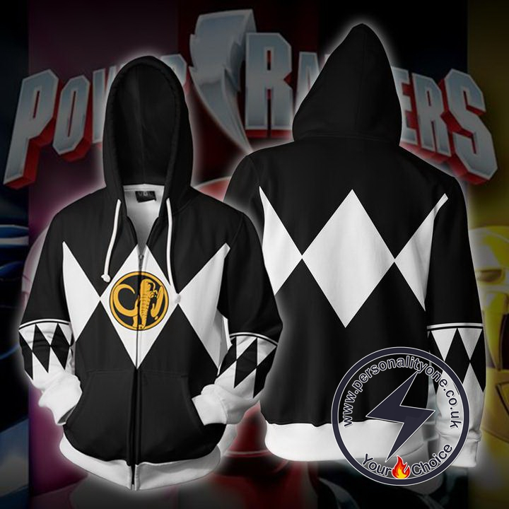 Power Rangers Black Zip Up Hoodie Jacket