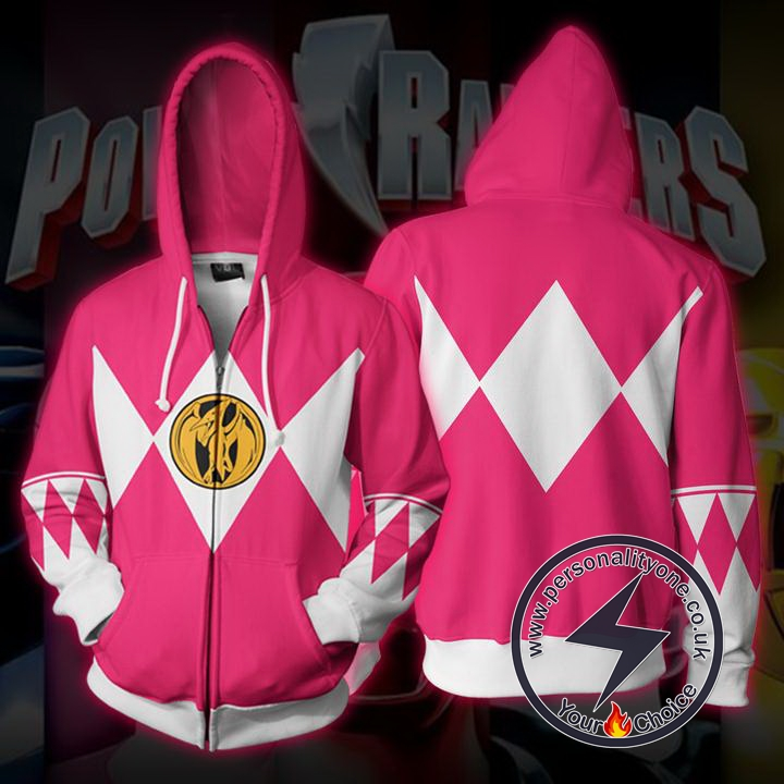 Power Rangers Pink Zip Up Hoodie Jacket