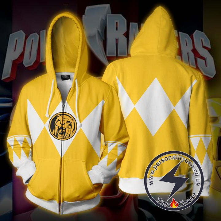 Power Rangers Yellow Zip Up Hoodie Jacket
