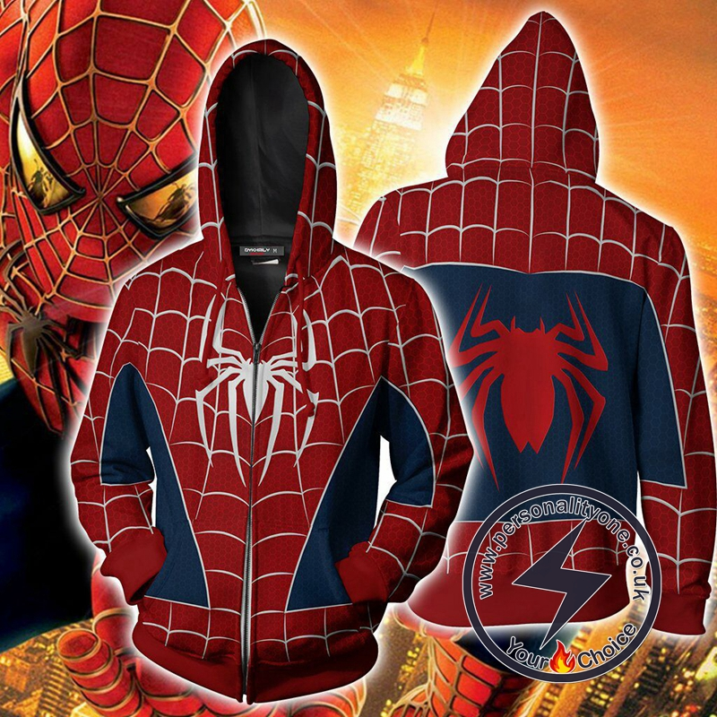 Spider-man PS4 Suit (Tobey Maguire - Sam Raimi 2002 Movie) Cosplay Zip Up Hoodie Jacket