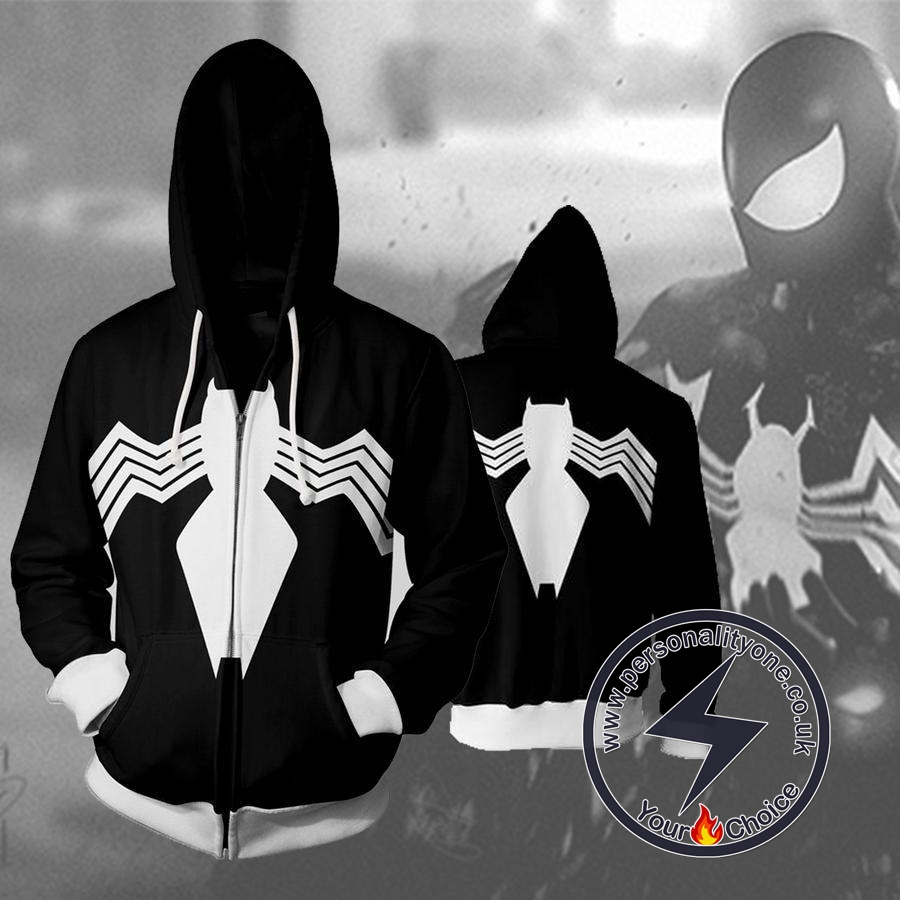 Spiderman Symbiote Spiderman Zip Up Hoodie Jacket
