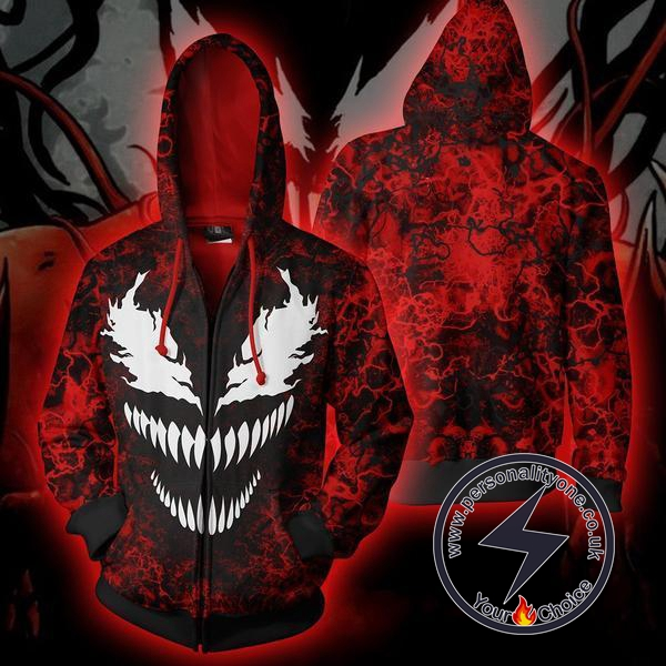 Spiderman Venom Carnage Zip Up Hoodie Jacket