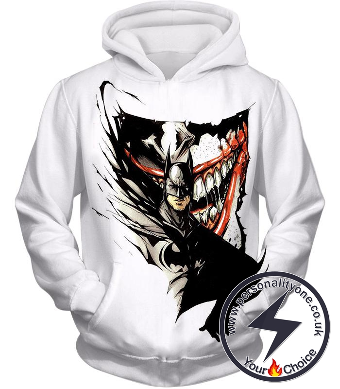 Amazing Fan Art Batman x The Joker Cool White Hoodie