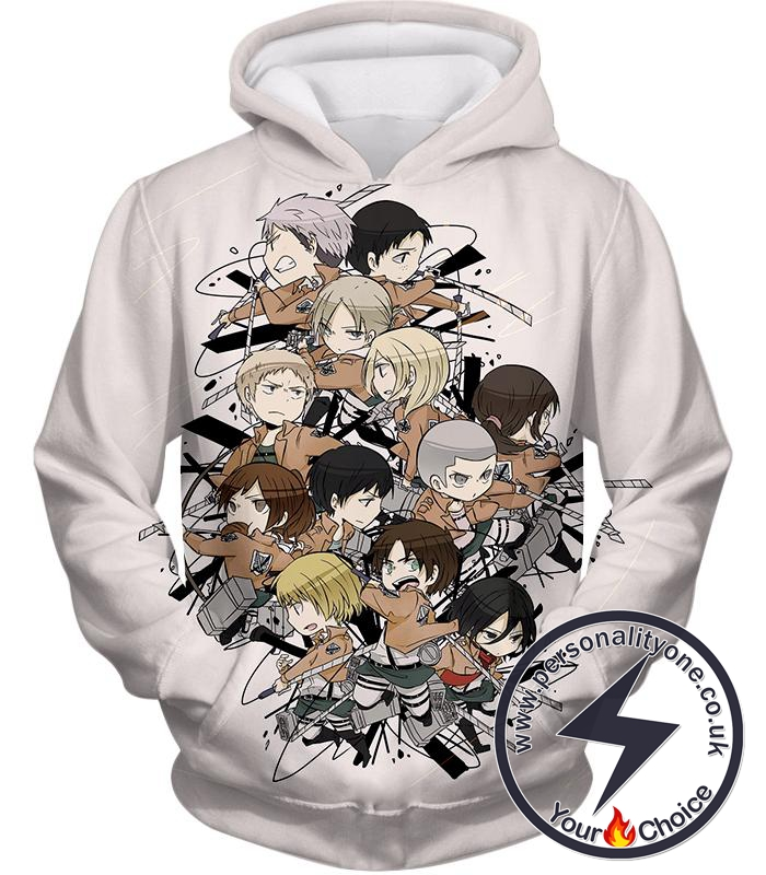 Attack on Titan Super Cool All Attack on Titan Characters Promo White Hoodie