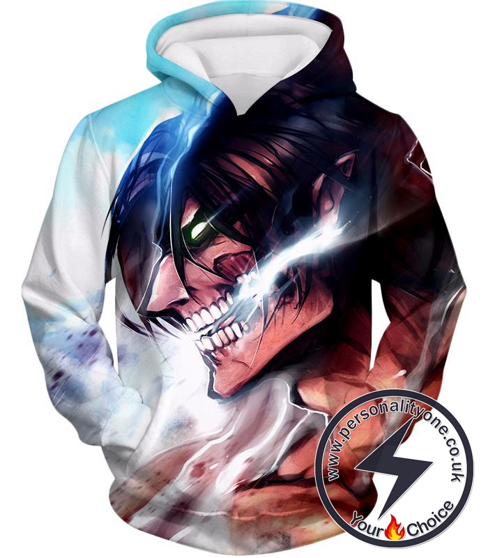 Attack on Titan Titan Form Eren Yeager White Hoodie