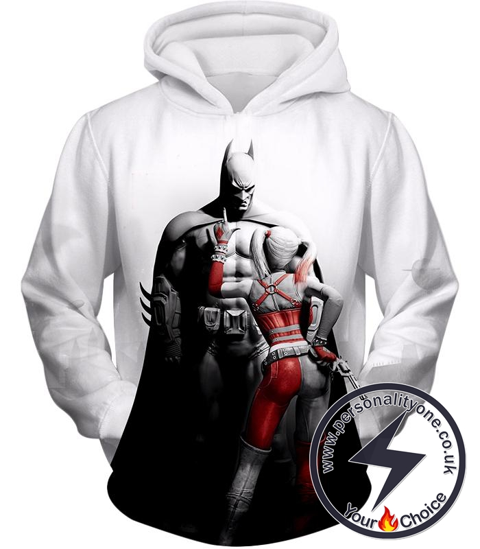 Batman x Harlequin Awesome 3D Graphic White Hoodie