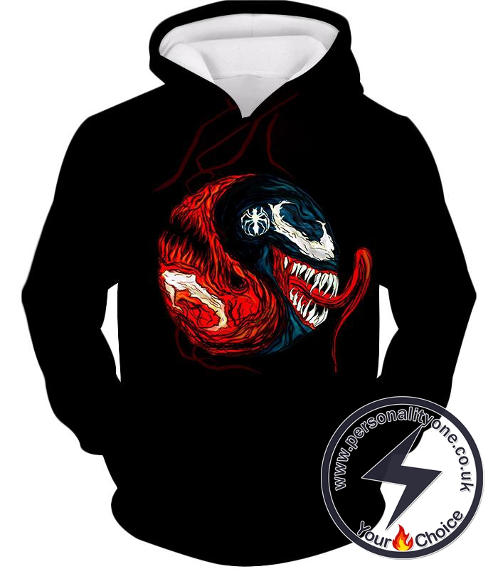 Carnage X Venom Crazy Fan Art Black Hoodie