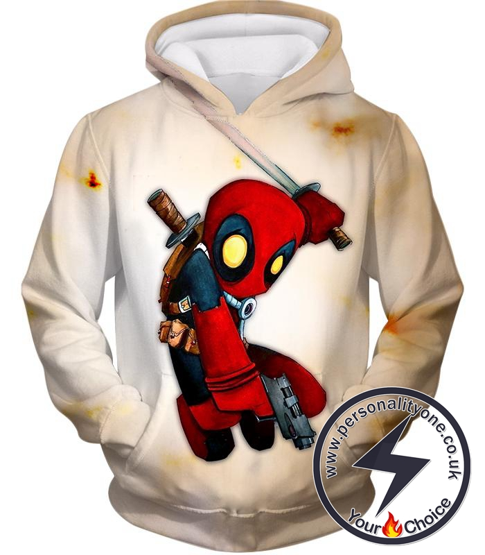 Cool Deadpool Funny Figure Action White Hoodie